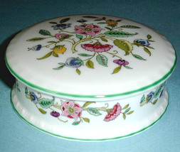 Minton HADDON HALL Round Trinket Box Lidded Floral Green Trim Made in UK... - $28.90