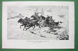 WINTER Snow Joy Ride Villager in Horse Cart - Victorian Antique Print - $16.20