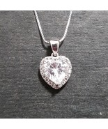 New 14k White Gold On 925 Sterling Silver  Double Layer Heart Charm Pendant - $30.19