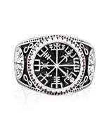 Sterling Silver Vegvisir Compass Signet Magical Staves Aegishjalmur Viki... - $37.95