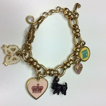 Juicy Couture Gold Tone Charm Bracelet Black Highland Terrier Scotty Dog - $74.24