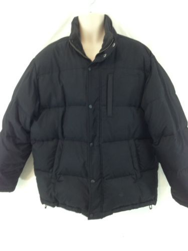 Timberland Mens XL Black Lined Down Insulated Puffer Snap Zip Front Coat
