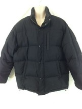Timberland Mens XL Black Lined Down Insulated Puffer Snap Zip Front Coat - $68.31