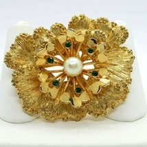 Vintage Flower Pin Brooch Sarah Coventry Gold Tone Green Rhinestone Pearl - $36.62