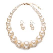 Yuhuan Womens Faux Big Pearl Choker Necklace and Earring Set Fashion Pea... - $20.99