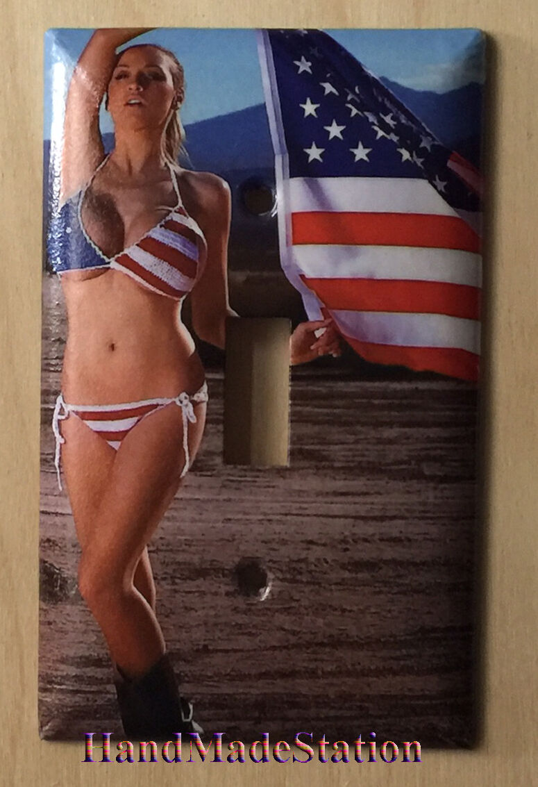 US USA Flag with Sex Girl Light Switch Power Outlet Cover Plate Home Decor
