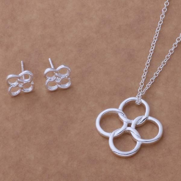 Primary image for Interlocking Rings Pendant Necklace and Earrings Set 925 Sterling Silver NEW