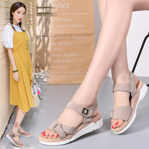 Platform ankle summer flat leather women suede strap sandals sandals 2018 STQ s HFBwUU