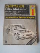 Chrysler Haynes Repair Manual 1988-1993 Full Size Models Front Wheel Dr ... - $15.36