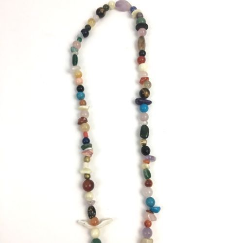 Natural Stone Glass Bead Necklace Long Beaded Multicolor Strand