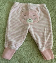 Carters Girls Pink White Striped Cat Terry Cloth Pants 3 Months - $4.00