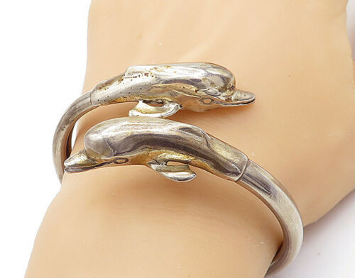 Primary image for 925 Sterling Silver - Vintage Double Dolphin Motif Bypass Cuff Bracelet - B7353