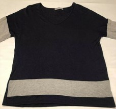 Womens Loveappella Long Sleeve Scoop Neck Shirt Size XL Navy Blue and Gray - $14.69