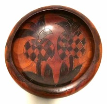Carved Wooden Salad Bowl Pineapple Design Mid-Century Centerpiece 12.5 i... - $25.74