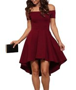 Euro Off Shoulder High-Low Party Dress (X-Large, Wine Red) - $24.95