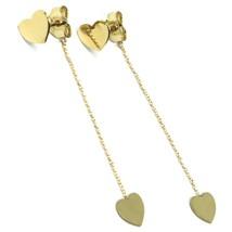Yellow Gold Earrings 750 18K, Hanging, Heart Double, Flat Polished, 4.8 CM image 1
