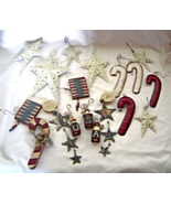 Set of 18 Rustic Americana Christmas Ornaments Stars Candy Canes - $39.99