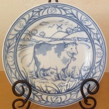 "Williams Sonoma Brittany Blue Cow Salad Plate Farm Scene 7.75"" Japan - $18.69"