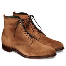 Handmade Men's Brown High Ankle Lace Up Suede Boots image 2
