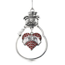 Inspired Silver Mum Red Pave Heart Snowman Holiday Ornament - $14.69