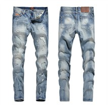 Mens Hole Embroidered Jeans Worn Blue Cotton Denim Straight Men's Casual... - $61.20