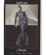 1983 Audre Laug Martha Sexy Blonde Striped Gown Vintage Fashion Print Ad... - $6.33