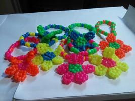 Lot of 7 Neon  Daisy Charm on Kandi Single Bracelet  EDM  EDC Rave - $23.74