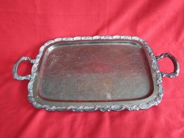 Vintage Oneida Silverplated Footed Serving Tray W Handles - $57.42