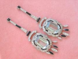 ART DECO BIG AQUAMARINE DIAMOND ONYX PLATINUM LONG COCKTAIL STATEMENT EA... - $11,037.51