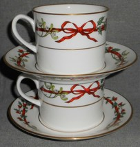 Set (2) Royal Worcester Holly Ribbons Pattern Cups And Saucers Made In England - $89.09