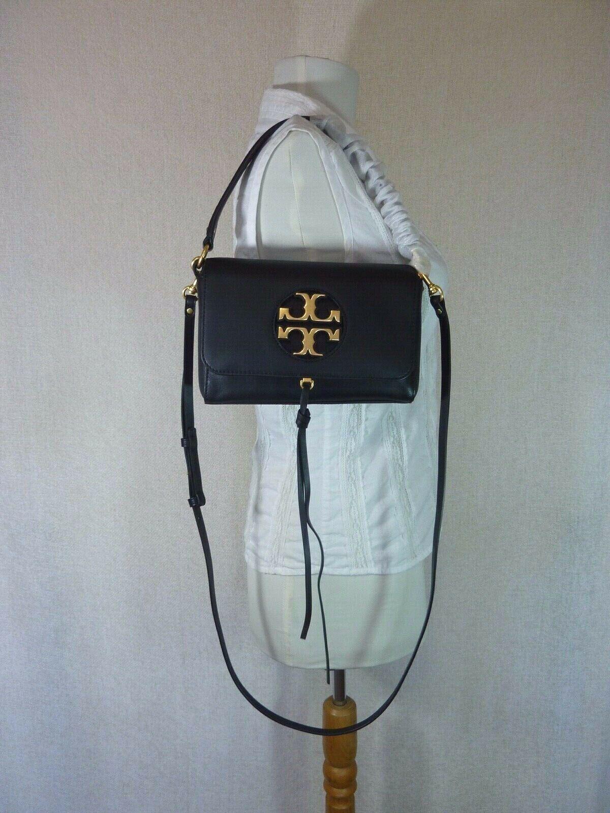 NWT Tory Burch Black Leather Miller Metal Cross-Body Bag/Mini Shoulder Bag $398