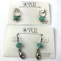 Vtg 90s Earring Lot Two Pairs pierced Sterling Danglers Carole Inc Turqu... - $19.79