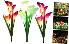3 Pack Solar Lights Outdoor Garden Stake Flower Lights with Total 12 Lily - $31.61