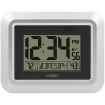La Crosse Technology 513-1918S-INT Atomic Digital Wall Clock with Indoor... - $41.42