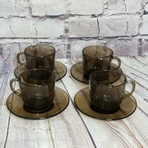 Vintage Vereco French Set of 4 Tempered Smoke Glass Teacups and Saucers ... - $46.74