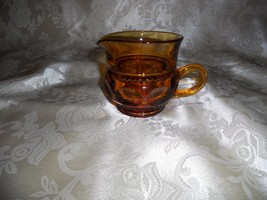 Vintage Indiana Glass Co Golden Amber King's Crown & Thumbprint  Cream P... - $0.98