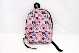 Adorable Lily & Drew Elephant Print Backpack School Book Bag Pink Hearts  - $19.49 CAD