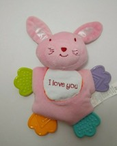 Pink Bunny I love You baby small plush security blanket Teether Fisher Price  - $4.94
