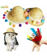 Pet Dog Cat Hat Summer Cool Fashion Straw Hat Outdoor Sun Proof Kitten P... - $6.33+