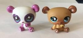 Set of 2 LITTLEST PET SHOP PANDAS Brown, White with purple LPS Toys Hasbro - $12.86