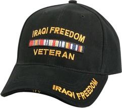 Black Iraqi Freedom Veteran Deluxe Low Profile Baseball Hat Cap - $10.99