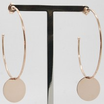 Gold Earrings Pink 750 18k Circles with disc Pendant Made in Italy image 1
