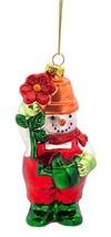 Gardening Snowman Glass Ornament