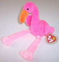 Ty Beanie Baby Pinky the Flamingo Plush, 1995 with Heart Tag + Plastic P... - $6.99