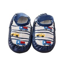 Dark Blue Color Truck Pattern Anti-slip Newborn Baby Socks image 1