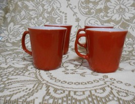 Set of four  Corning Ware NY Burnt Orange Cinnamon D Handle Mugs 8 oz - $15.10