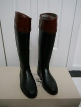 NIB 100% AUTH Burberry  Hillmore Leathertrimmed Rainboots Sz 37 $395 - $295.02