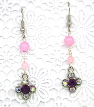 Women New Clover Violet Swarovski Elements Crystal Gemstone Pierced Earr... - $30.77 CAD