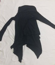 Forever 21 Black Gold Glitter Open Wrap Shawl Cardigan Sweater One Size Metallic image 2