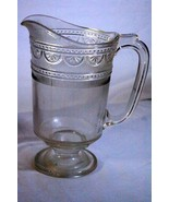 Antique Bryce Higbee Glass Sheraton 2 qt Pitcher Circa 1880 EAPG - $44.09